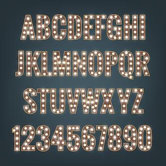 Carattere tipografico con lampadine