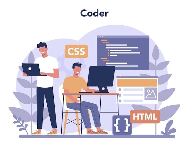 Concetto di dattilografo. costruzione di siti web. processo di creazione del sito web, codifica, programmazione, costruzione dell'interfaccia e creazione di contenuti.