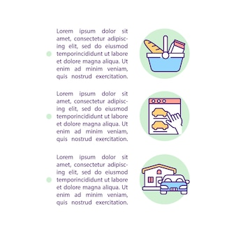 Tipi di icone della linea del concetto di comportamento del consumatore con testo