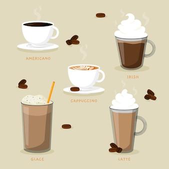 Tipi di deliziosi caffè e caffè freddo