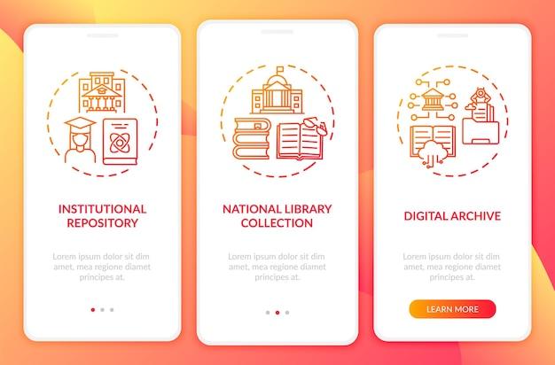 Tipi di biblioteche digitali che eseguono l'onboarding della schermata della pagina dell'app mobile con concetti. procedura dettagliata per la raccolta di libri dell'archivio nazionale 3 passaggi. modello di interfaccia utente con illustrazioni a colori rgb