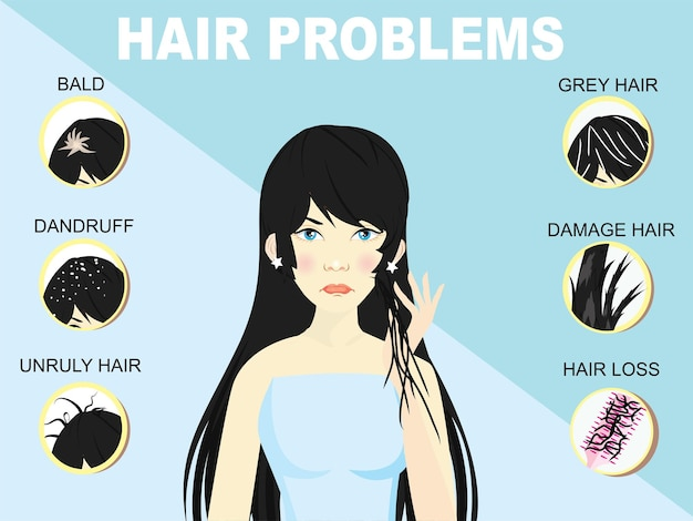 Tipi di problemi di capelli, alopecia, danni, capelli grigi