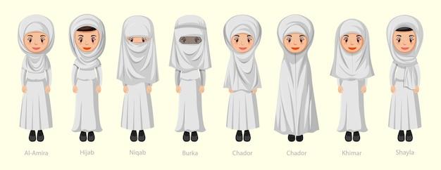 Tipi di veli tradizionali islamici di donna nel personaggio dei cartoni animati