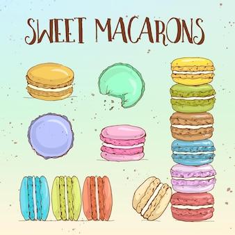 Tipi di macarons, schizzo disegnato a mano e colore.