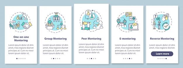 Tipi di mentoring nella schermata della pagina dell'app per dispositivi mobili con concetti. gruppo e insegnamento peer to peer walkthrough 5 passaggi istruzioni grafiche. modello di interfaccia utente con illustrazioni a colori rgb