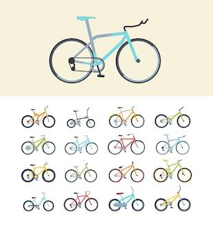 Tipi di set di illustrazioni vettoriali piatta bici moderne