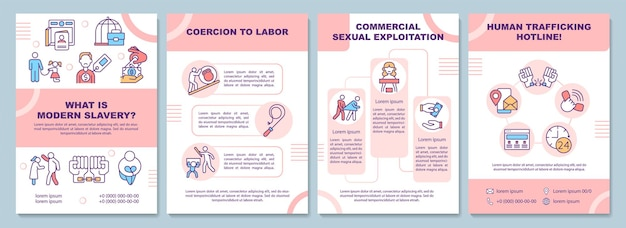 Tipi di modello di brochure moderna schiavitù e sfruttamento
