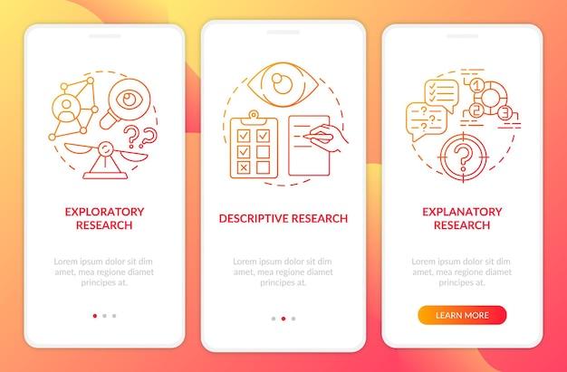Tipi di ricerca scientifica nella schermata della pagina dell'app mobile con concetti. procedura dettagliata di ricerca esplorativa 5 passaggi. modello di interfaccia utente con illustrazioni a colori rgb