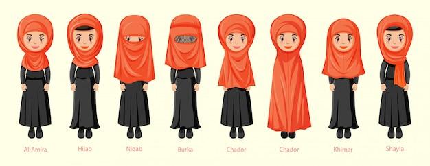Tipi di veli tradizionali femminili nel personaggio dei cartoni animati