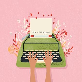 Macchina da scrivere e nota d'amore con scritte a mano. illustrazione disegnata a mano colorata per happy valentines day. biglietto di auguri con fiori ed elementi decorativi.