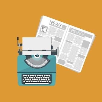 Macchina da scrivere e giornale Vettore Premium