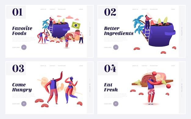Piatti tipici brasiliani, set di pagine di destinazione del sito web di fiesta.