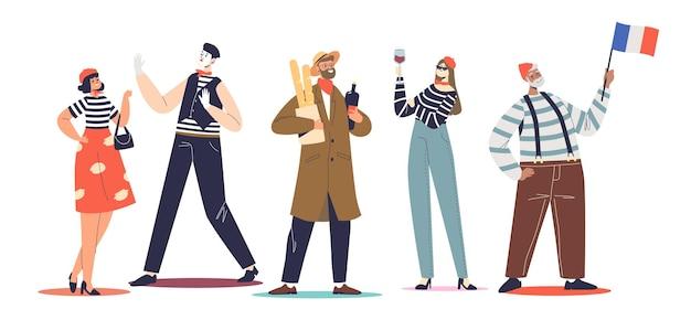 Tipico set di francesi: mimi, donne in berretti che tengono baguette e vino rosso. gruppo di cartoni animati che indossano abiti tradizionali francesi. parigi nel concetto di stereotipi. illustrazione vettoriale piatta
