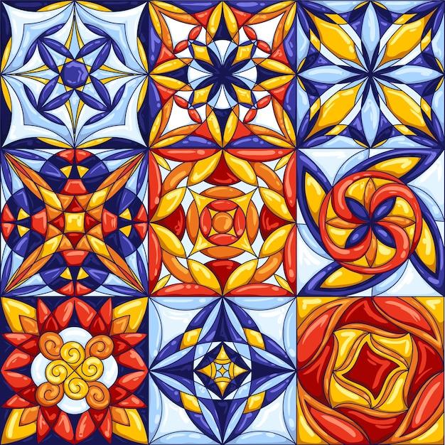 Tipiche piastrelle di ceramica portoghesi o italiane decorate