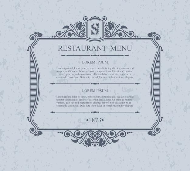 Elementi di design ristorante menu tipografici, modello grazioso calligrafico. Vettore Premium