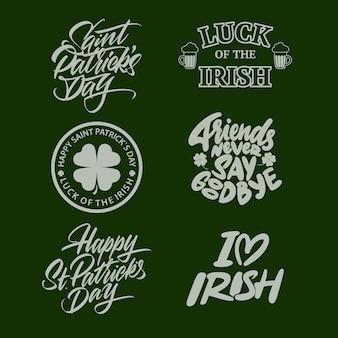 Etichette e distintivi retrò tipografici di san patrizio. elementi di disegno vettoriale vintage per poster e biglietti di auguri. illustrazione vettoriale