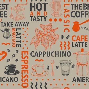 Modello senza cuciture del caffè tipografico di vettore
