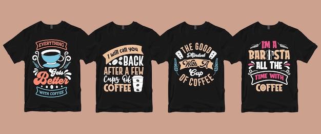 Pacchetto di magliette da caffè con scritte di calligrafia di tipografia