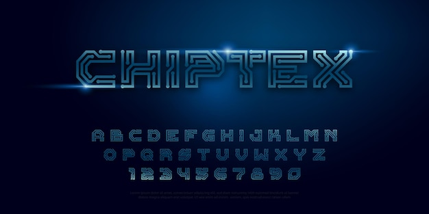 Tipografia chip digitale concetto di design vettore carattere stile circuito stampato digitstechnology