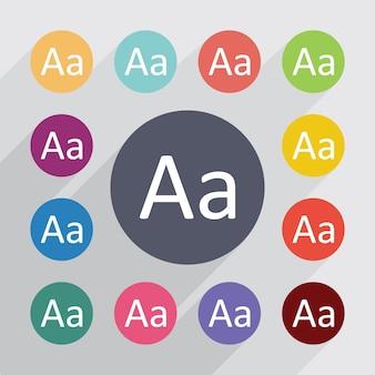Tipografia, set di icone piatte. bottoni colorati rotondi. vettore