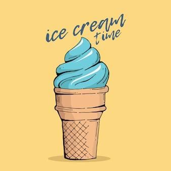 Citazione di tempo di lettering di mano di tipografia gelato
