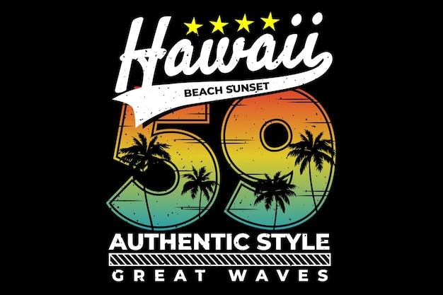 Tipografia hawaii tramonto cielo stile autentico authentic