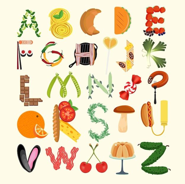 Poster da cucina tipografia. alfabeto di cibo. illustrazione di vettore.