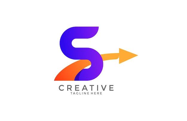 Tipografia lettera s gradiente colore link swoosh logo