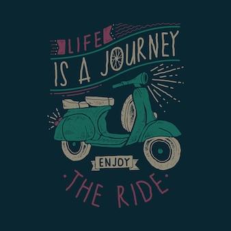 Tipografia motivazione vita grafica illustrazione arte tshirt design