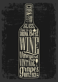 Tipografia poster lettering testo in silhouette bottiglia di vino incisione vettoriale vintage