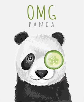 Slogan di tipografia e fumetto disegnato a mano del panda del bambino