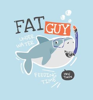 Slogan di tipografia con lo squalo del fumetto nell'illustrazione della maschera dello snorkeling