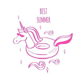 Slogan di tipografia con unicorno estivo carino disegnato a mano come anello di gomma nell'oceano