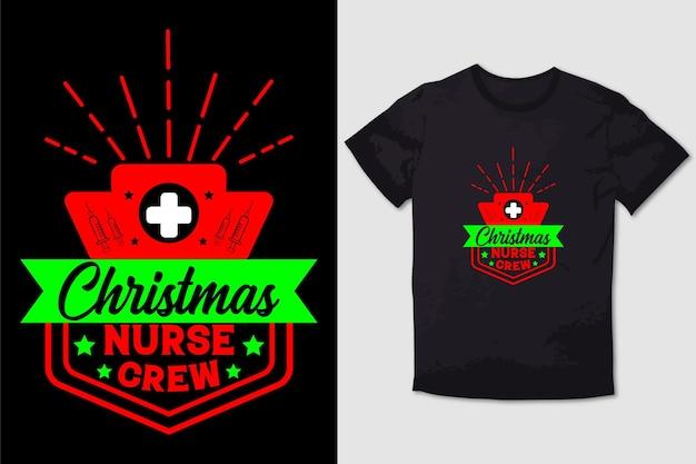 Tipografia tshirt design natale infermiera crew