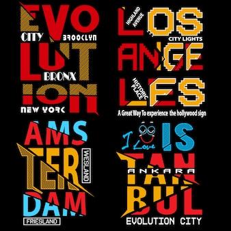 Set vettoriale di tipografia per t-shirt e altri usi