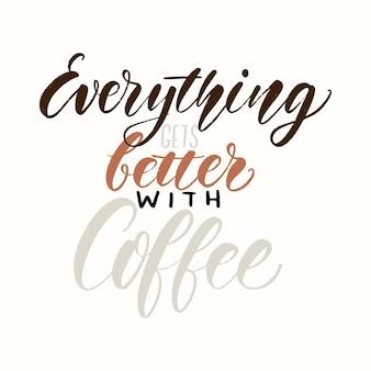 Citazione tipografica del caffè. frase ispiratrice scritta a mano di vettore. promozione della caffetteria.