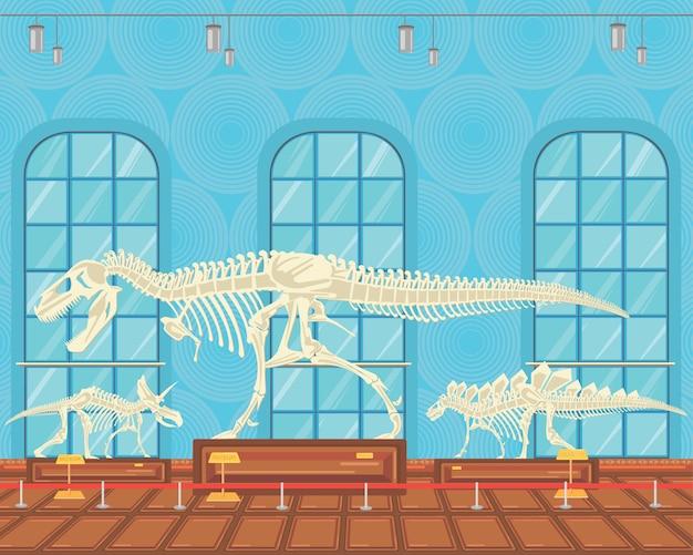 Il tirannosauro rex disossa lo scheletro nella mostra museale.