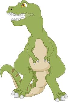 Cartone animato tirannosauro isolato su sfondo bianco