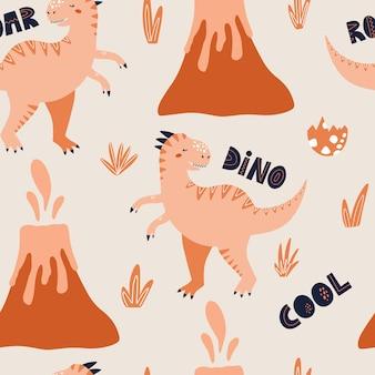 Modello senza cuciture di dinosauro tirannosauro illustrazione vettoriale disegnata a mano per imballaggio o tessile