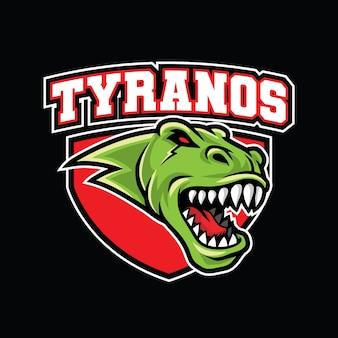 Modello di logo di tyrannosaurus rex esport