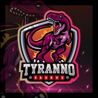 Design del logo esport della mascotte del tirannosauro rex