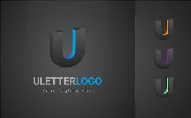 Lettera u logo 3d