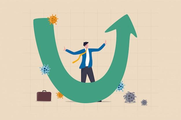 Recupero economico a forma di u dopo il concetto di crash del coronavirus covid-19, il professionista dell'uomo d'affari analizza il mondo economico, il business si riprenderà e ripristinerà nel grafico a forma di u e nel grafico con patogeno virale