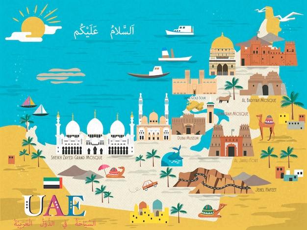 Mappa concettuale di viaggio degli emirati arabi uniti con attrazioni e specialità