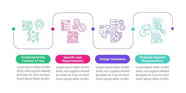 Modello di infografica vettoriale di processo ucd. elementi di design del profilo di presentazione delle soluzioni di design. visualizzazione dei dati con 4 passaggi. grafico delle informazioni sulla sequenza temporale del processo. layout del flusso di lavoro con icone di linea
