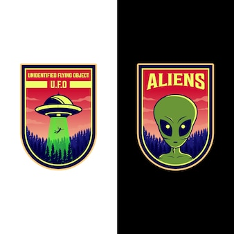 Progettazione dell'illustrazione delle toppe di logo straniero e del ufo