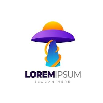 Modello di logo colorato sfumato ufo