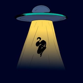 Ufo nel cielo notturno oscuro rapisce una persona. silhouette di una donna.