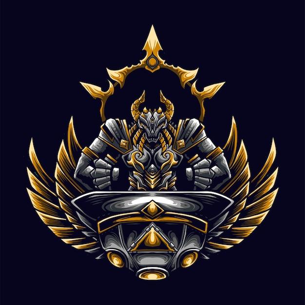Logo della mascotte del drago ufo per esport