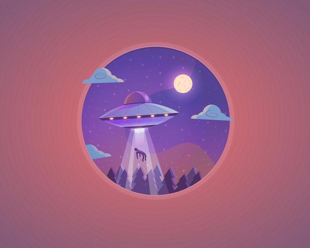 Illustrazione di ufo. concetto di cartone animato disco volante.